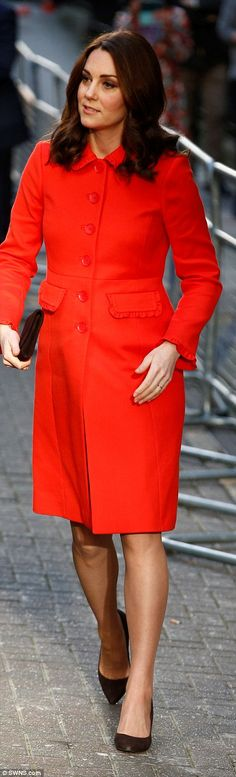 Despite chilly temperatures, Kate braved the cold by going bare-legged...