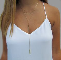 Cameron Diaz Bar Lariat Necklace, Double Bar Necklace, Long Bar Y Necklace