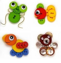Crafts with buttons for kids Crafts with buttons for kids Kids Crafts, Button Crafts For Kids, Diy And Crafts, Craft Projects, Sewing Projects, Projects To Try, Arts And Crafts, Craft Ideas, Button Art Projects