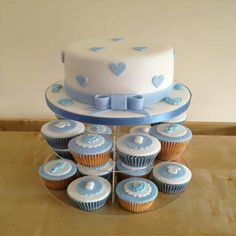 Christening cake and cupcakes for boys