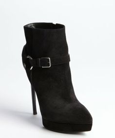 style #329394601 black suede harness detailed pointed toe platform heel booties