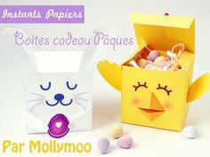 Boites chocolats pour Pâques à faire soi même : poussin et lapin en papier