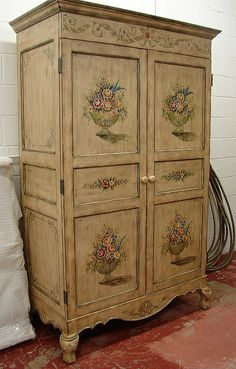 French Country Tole Paint Office Computer PC Drop Down Sewing Secretary Desk Armoire Cabinet. $495.00, via Etsy.