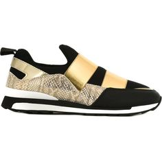 Hogan Rebel Double Strap Slip-on Sneakers ($154) ❤ liked on Polyvore featuring shoes, sneakers, slip on sneakers, hogan rebel shoes, hogan rebel sneakers, pull-on sneakers and black and gold shoes