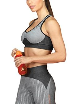 92b38409a5b7f Lupo Womens Micro Print Seamless Racerback Gym Sports Bra XLarge Gray    Learn more by visiting