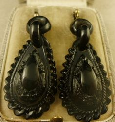 VICTORIAN WHITBY JET LONG CARVED EARRINGS CIRCA 1880