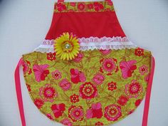 Pink and Green Flower Apron by CupcakeCutieKids on Etsy, $16.00
