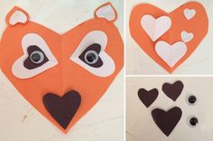 Tinkering animals with hearts - animals Web Animal, Forest Animals, Diy, Paper, Do It Yourself Crafts, Fox, Creative Crafts, Day Care, Heart