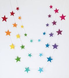 Bring some colour to a childs bedroom or nursery, or your office space at work, with this lovely rainbow star garland. This item makes a lovely gift for a child or new baby and makes a great prop for cake smash and baby photo shoots.  The garland is double sided and made from premium 40% wool felt attached to a white satin ribbon. It consists of 10 stars in a range of pretty colours to make a lovely rainbow effect. These garlands can also be made in other colours to match an existing colour…