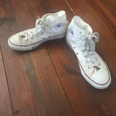 Converse High Tops Worn and loved, other than needing a good cleaning these shoes are in perfect condition. Converse Shoes Sneakers
