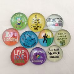 "10 Geostones (1"") With Mixed Geocaching Images and Sayings  - Geocaching Swag"