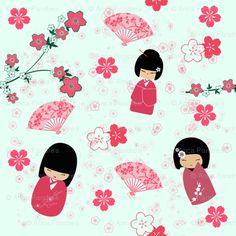 Sakura fabric by happyhangaround for sale on Spoonflower Obsessed!!!