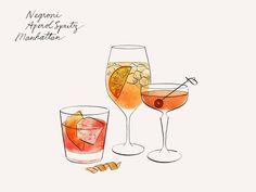Negroni Aperol Spritz Manhattan illustrated drinks