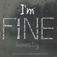Sometimes we pretend to be fine, when actually we're so broken inside. #broken #breakthestigma #imfine #mentalhealth