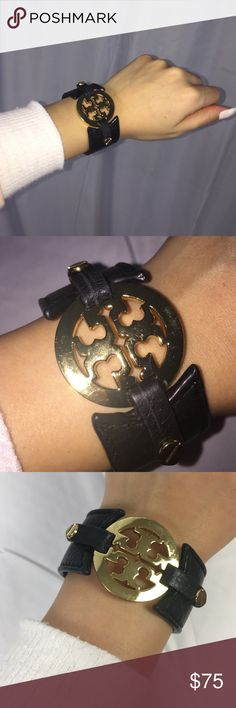 """Tory Burch Classic Logo Bracelet Leather logo buckle bracelet for all occasions/snap closure/ leather, brass and gold plated /. 6 1/2 """" length; 1 1/2 """" width Tory Burch Jewelry Bracelets"""