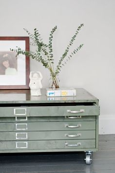 Green flat file cabinet coffee table An architects flat paper file with casters. An industrial beauty perfect for a large living area where friends