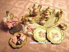 Jill Dianne Art = 1:12 scale Rabbits and Roses Tea Set Z