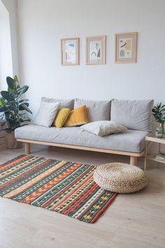 Orange and Green Area Rug, Crochet Rug Pattern Designed by Belkin Home - living room Sofa Design, Interior Design, Living Room Decor, Bedroom Decor, Bedroom Furniture, Crochet Rug Patterns, Crochet Rugs, Carpet Trends, Carpet Styles