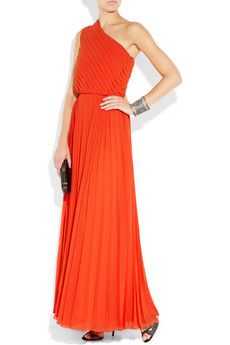 halston heritage pleated one-shoulder gown. great way to add some color to black tie.