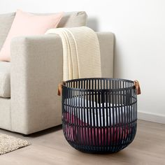 IKEA - HURRING, Basket, bamboo black, Storing your belongings in baskets makes it easier to be organized and find what you're looking for. Ikea Living Room, Living Room Storage, Living Area, Living Spaces, Rattan, Ikea Basket, Bamboo Basket, Modern Baskets, Blanket Basket