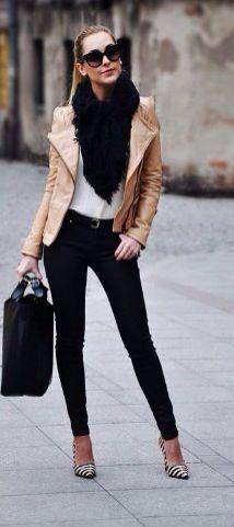 Nude blazer + black jeans + striped stilettos
