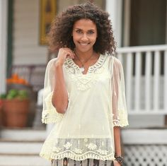 """Liberally detailed with frothy white embroidery, airy mesh creates a delicious veil over a coordinating camisole with lingerie straps. Nylon. Dry clean. Imported. Sizes XS (2), S (4 to 6), M (8 to 10), L (12 to 14), XL (16). Approx. 27""""L."""