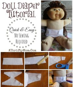 How to make a cloth diaper for baby dolls, No Sew pattern perfect gift for little girls #DollDiaper, #NoSewDollDiaper, #Patern, #diaper