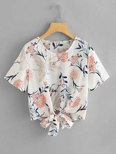 Floral Self Knot Front Top -SheIn(Sheinside) Girls Fashion Clothes, Modest Fashion, Cute Fashion, Girl Fashion, Fashion Dresses, Clothes For Women, Womens Fashion, Stylish Dress Designs, Stylish Dresses