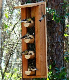 Bird feeder with beautiful unique new by WoodBirdFeederFrenzy