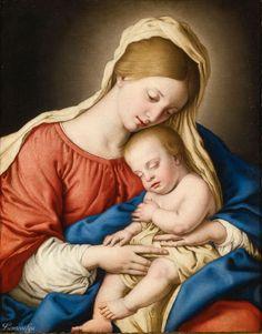 Giovanni Battista Salvi, called Sassoferrato SASSOFERRATO 1609 - 1685 ROME MADONNA AND CHILD oil on canvas 22 3/4  by 28 in.; 57.7 by 71.1 cm