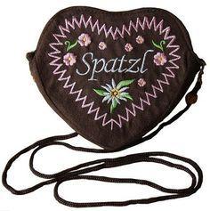 Ladies Dirndl handbag shoulder bag brown heart (pink) - For my Bavarian Oktoberfest costume.