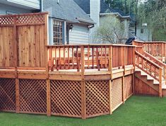 Under deck storage with lattice facing. Built by Atlanta Decking & Fence.