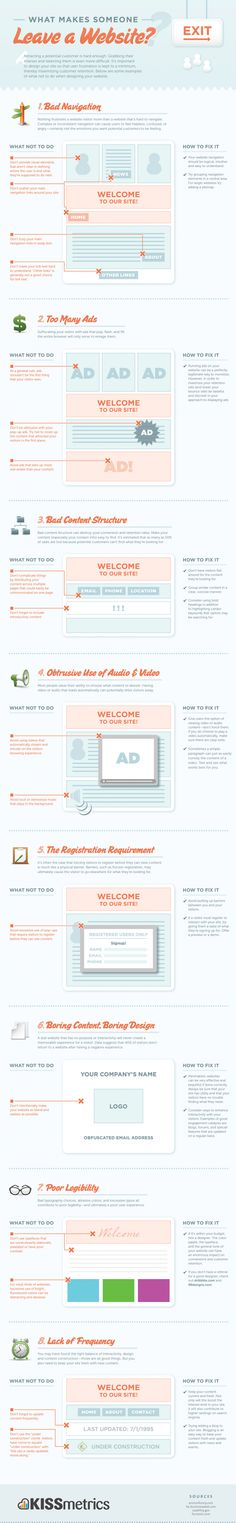 8 Website Design No-Nos! [Infographic] What makes a website interesting to you? Is it content, interactivity, navigation, maybe all of the above? It can be a whole slew of reasons! Check out the reasons as to why might someone leave a website – courtesy of KissMetrics.  Read more at http://www.business2community.com/online-marketing/8-website-design-no-nos-infographic-0360653#M82YisFHuSIGi2ZZ.99