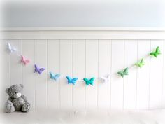 Butterfly banner/ garland/ bunting  purple pink by LullabyMobiles, $62.00