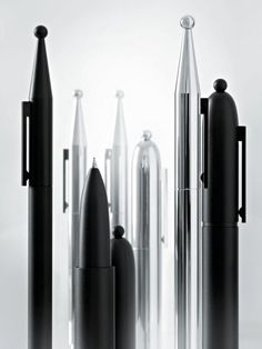 Alessi has made a set of pens 'La Conica' and 'La Cupola' designed by Aldo Rossi. Produced in conjuctions with Uniball, the pens are designed with the same elements as Rossi's classic designs the 'La Conica' and 'La Cupola' coffee pots first manufactured in 1984 (La Conica) and 1988 (La Cupola)