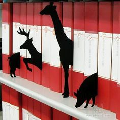 Animal Bookshelf Dividers. i would like to own you, please.