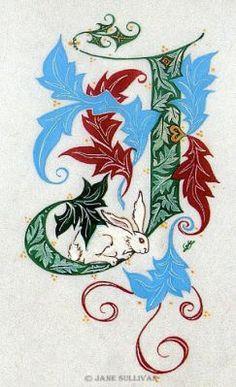 Calligraphy fantasy rabbits J fonts celtic 'illuminated_letter' J Illuminated J  ©Jane SullivanIlluminated J©