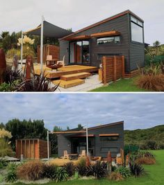 A modern tiny home with corrugated metal siding and a wood deck. New Zealand Architecture, Metal Siding, Modern Tiny House, Corrugated Metal, Wood Accents, Small Patio, Sliding Glass Door, Small World, Future House