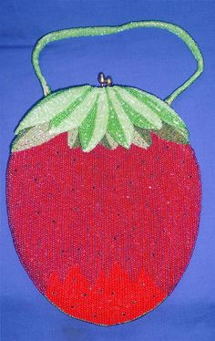 Vintage Delill Strawberry Beaded Evening Handbag