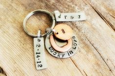 Personalized+Penny+keychain+lucky+in+love+by+DieCutMetalCreations,+$25.00