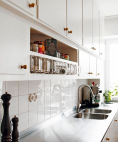 pretty, simple, open and clean white kitchen. love it