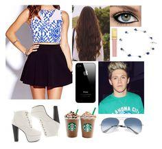"""At Starbucks with Niall"" by saraalashari ❤ liked on Polyvore"