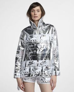 d72445c09 Nike womens jacket Metallic silver reflective shiny graphic logo jacket  half zip where to buy futuristic naked copenhagen