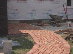 herringbone brick – Adventures in Remodeling Brick Sidewalk, Garden Edging, Window Boxes, Walkway, Curb Appeal, Herringbone, Concrete, Deck, Exterior