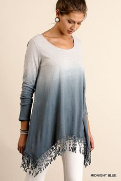 Long sleeve tye die color block tunic with fringe tassel deatail on the hem. Ombre tunic