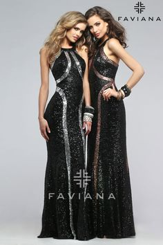 Faviana style 7708 will make you shine brighter than the stars! This sequin dress features two tones, which give it a wow-factor. The scoop neck provides a sense of elegance, while the architecturally placed sequins that make a statement.
