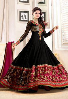 Black and Fuchsia Faux Georgette Abaya Style Churidar Kameez: KYX115