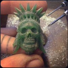 Liberty Skull #newdesign ready for casting! #handcarved #waxcarved  Available soon! #thewildnessjewellery #thewildness #incandescentartistry #handmadeinlondon #skull #libertyskullpendant #libertystatue #liberty #madeinlondon