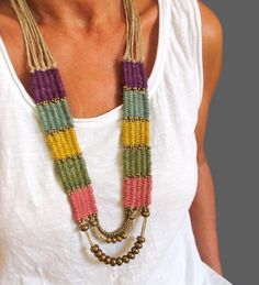 Woven Boho NecklaceBead Hemp Necklace Tribal by totalhandmadeD