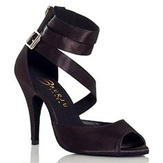 Kevin Fashion Womens Ankle Strap Black Satin Stage Party Sandals Latin Dance Shoes 7 M US * Continue to the product at the image link.